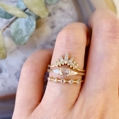 Heirloom Rose Cut Ring With Tapered Baguettes