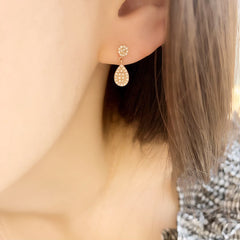 Small Disc and Pear Shape Pave Post Earrings
