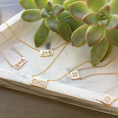petite initial tag necklace with diamonds