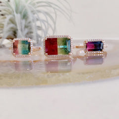 One of a Kind Blue-Pink Tourmaline Ring in Rose Gold