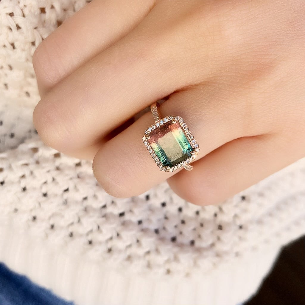 One of a Kind Triple Banded Tourmaline Ring in Rose Gold