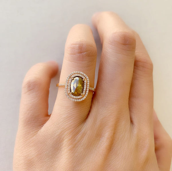 One of a Kind Oval Rustic Diamond Double Halo Ring