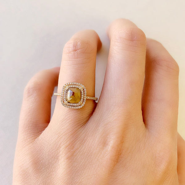 One of a Kind Square Rustic Diamond Double Halo Ring