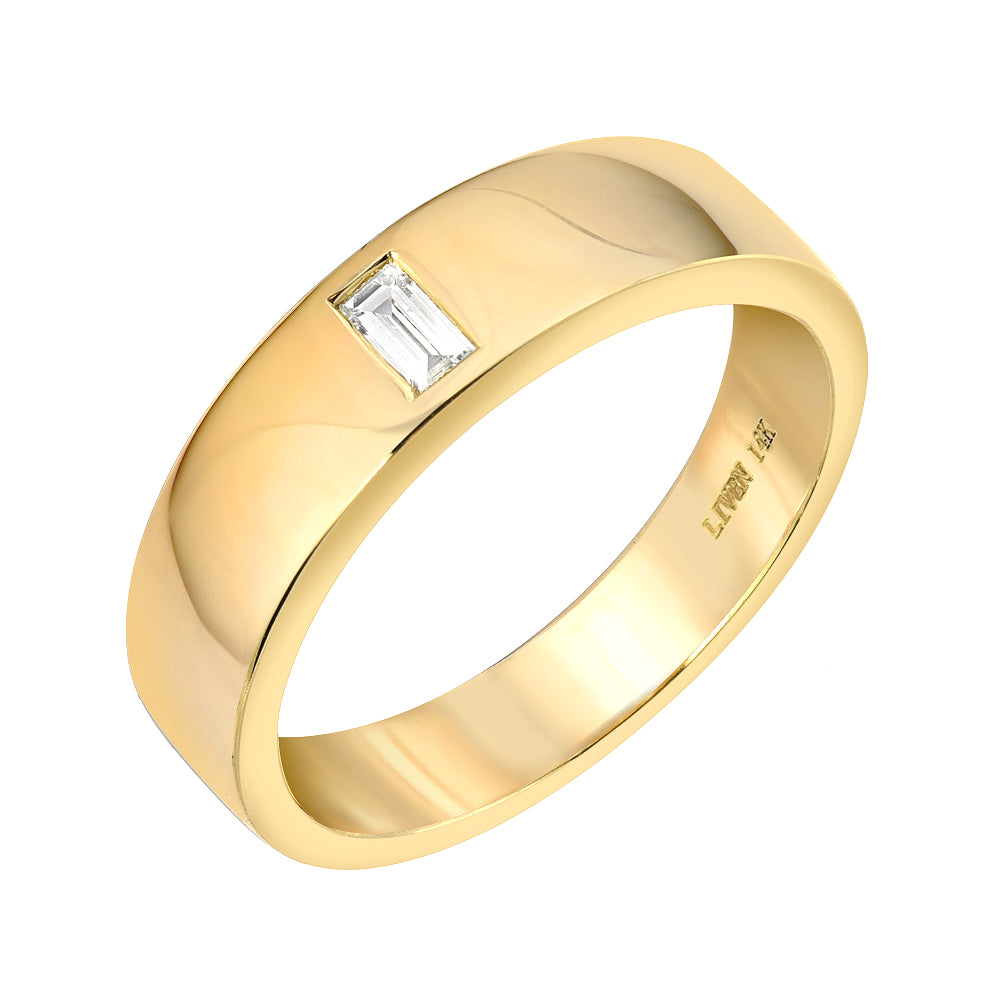 high polish 14k gold cigar band with baguette diamond