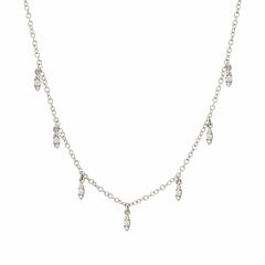 dangling marquise necklace in white  gold