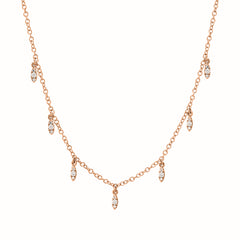 dangling marquise necklace in rose gold