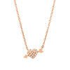 heart and arrow necklace in rose gold