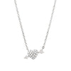 heart and arrow necklace in white gold