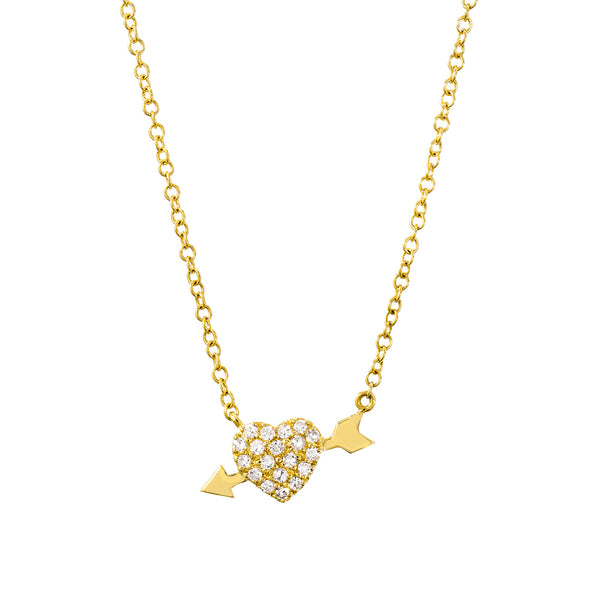 heart and arrow necklace in yellow gold