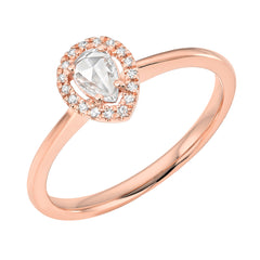 pear shape rose cut diamond halo ring
