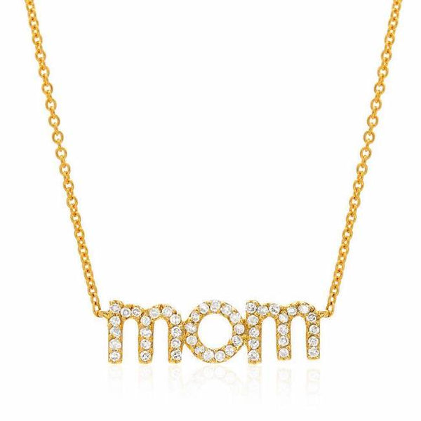 Mom Necklace in Yellow Gold