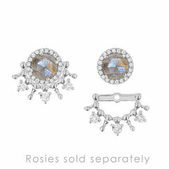 tiara ear jackets in white gold