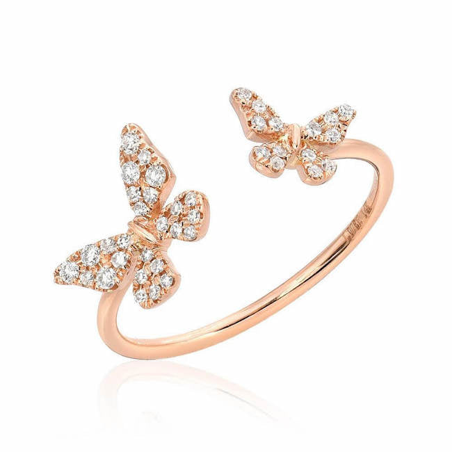butterfly open ring in rose gold
