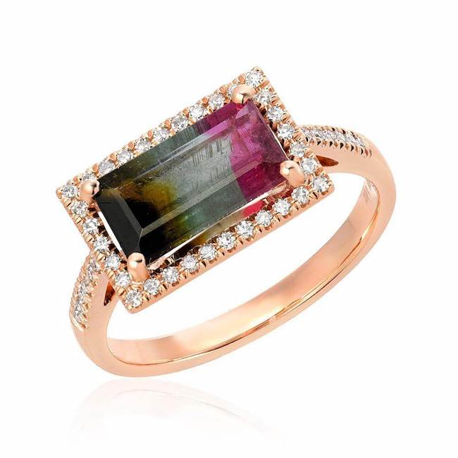 One of a Kind Triple Banded Tourmaline Ring
