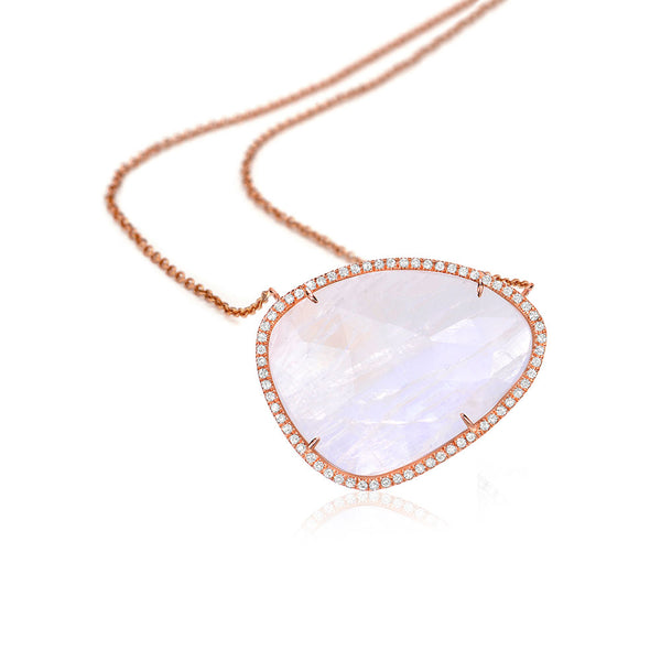 One of a Kind Rainbow Moonstone Necklace