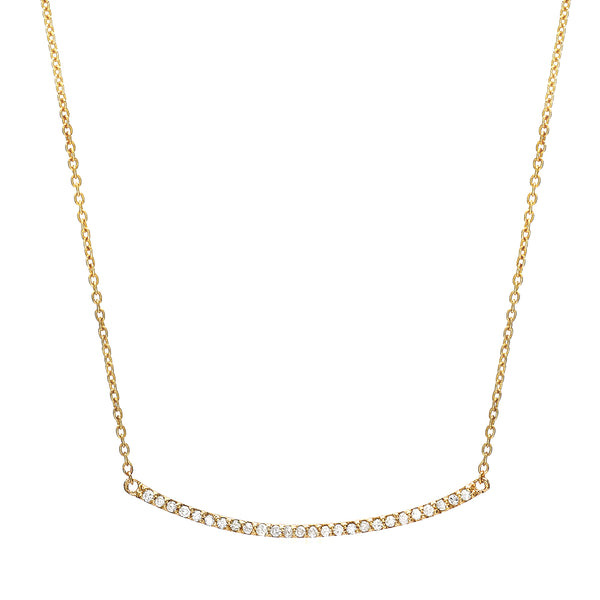 bar necklace with diamonds in yellow gold