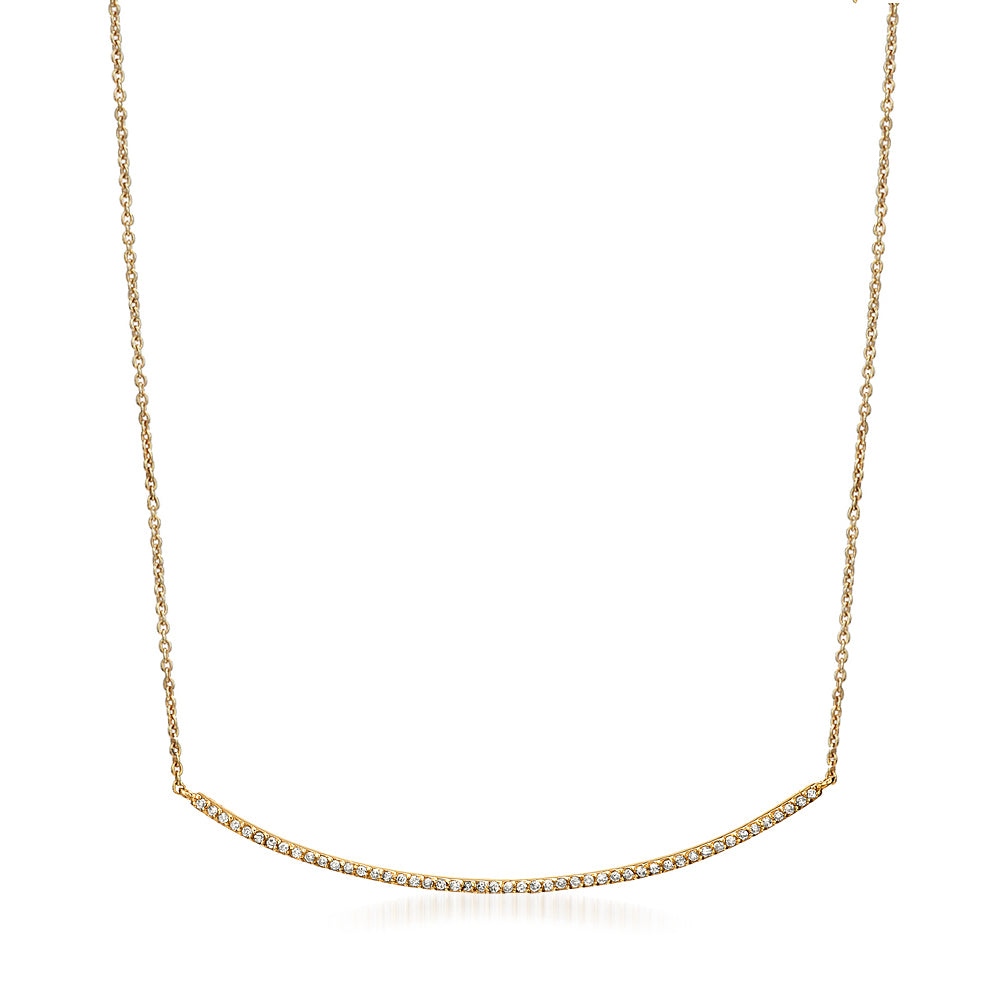 long bar necklace with diamonds in yellow gold