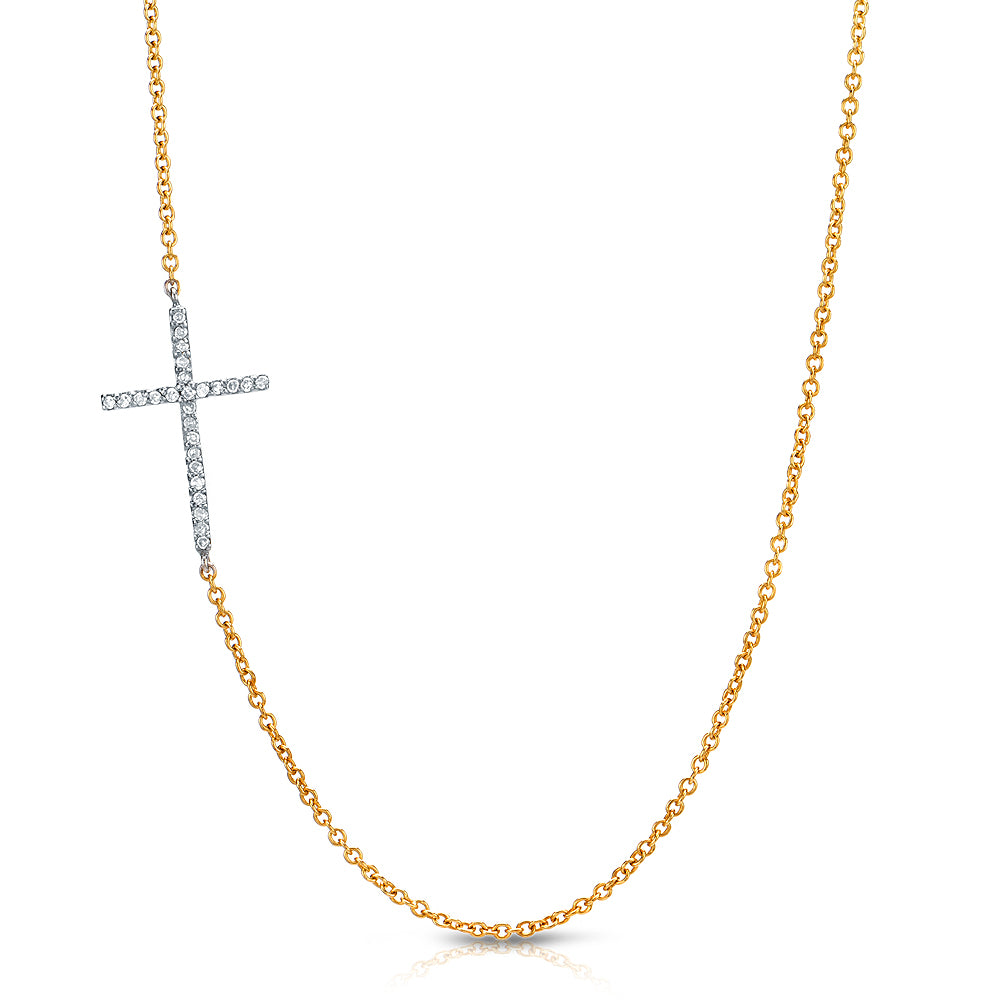 sideways cross necklace in 14k yellow gold and white gold with diamonds