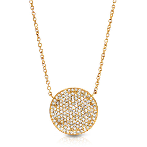 Large Pave Disc Necklace - 15mm Diameter