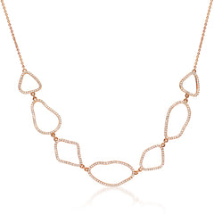 organic shape necklace with diamonds in rose gold