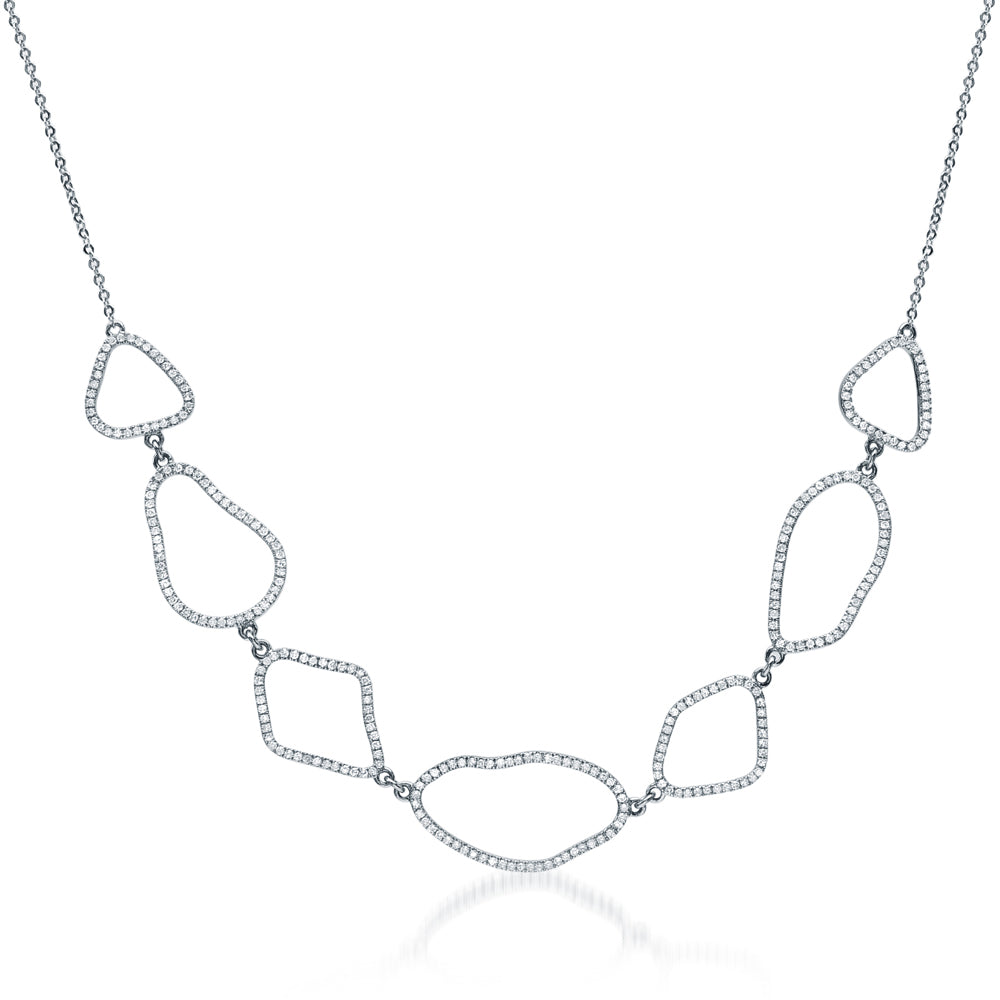 organic shape necklace with diamonds in white gold