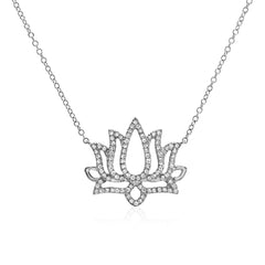 lotus flower necklace in 14k gold with diamonds