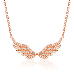 angel wing necklace with diamonds in rose gold