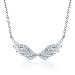 angel wing necklace with diamonds in white gold