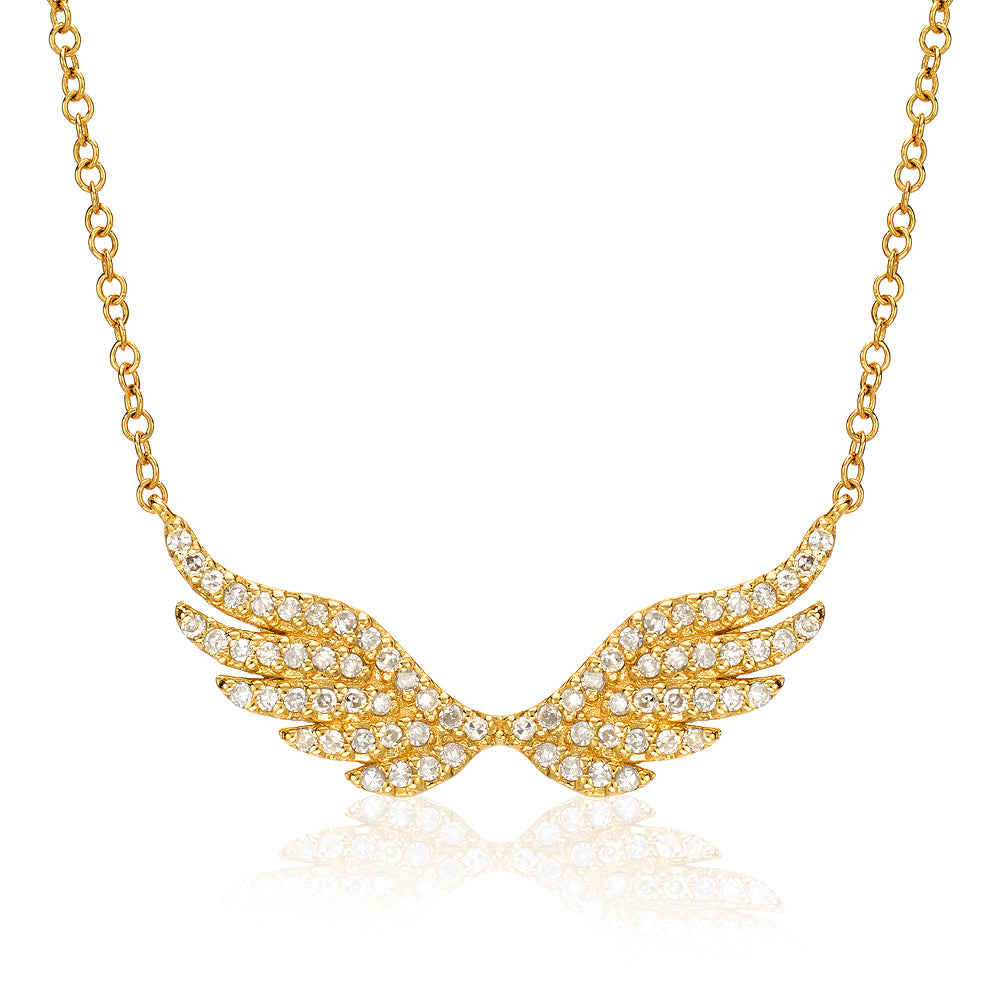 angel wing necklace with diamonds in yellow gold