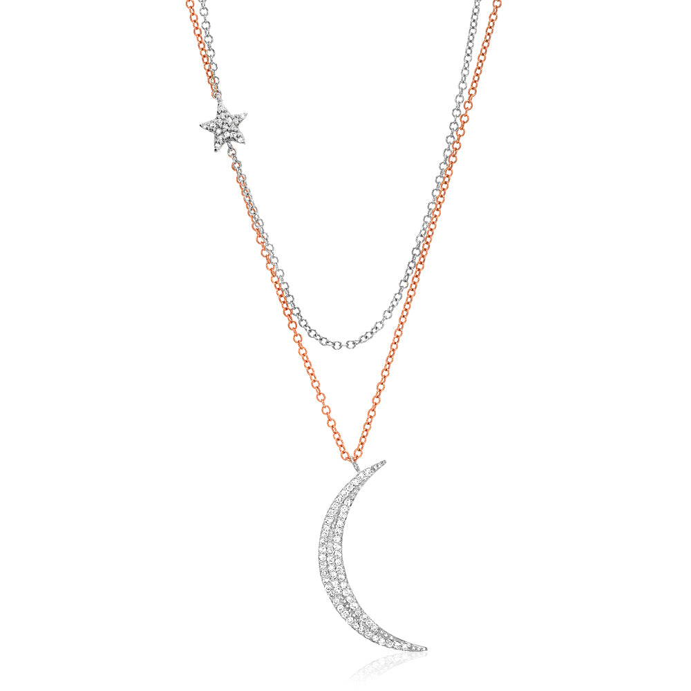 two tone double chain moon and star necklace in rose and white gold