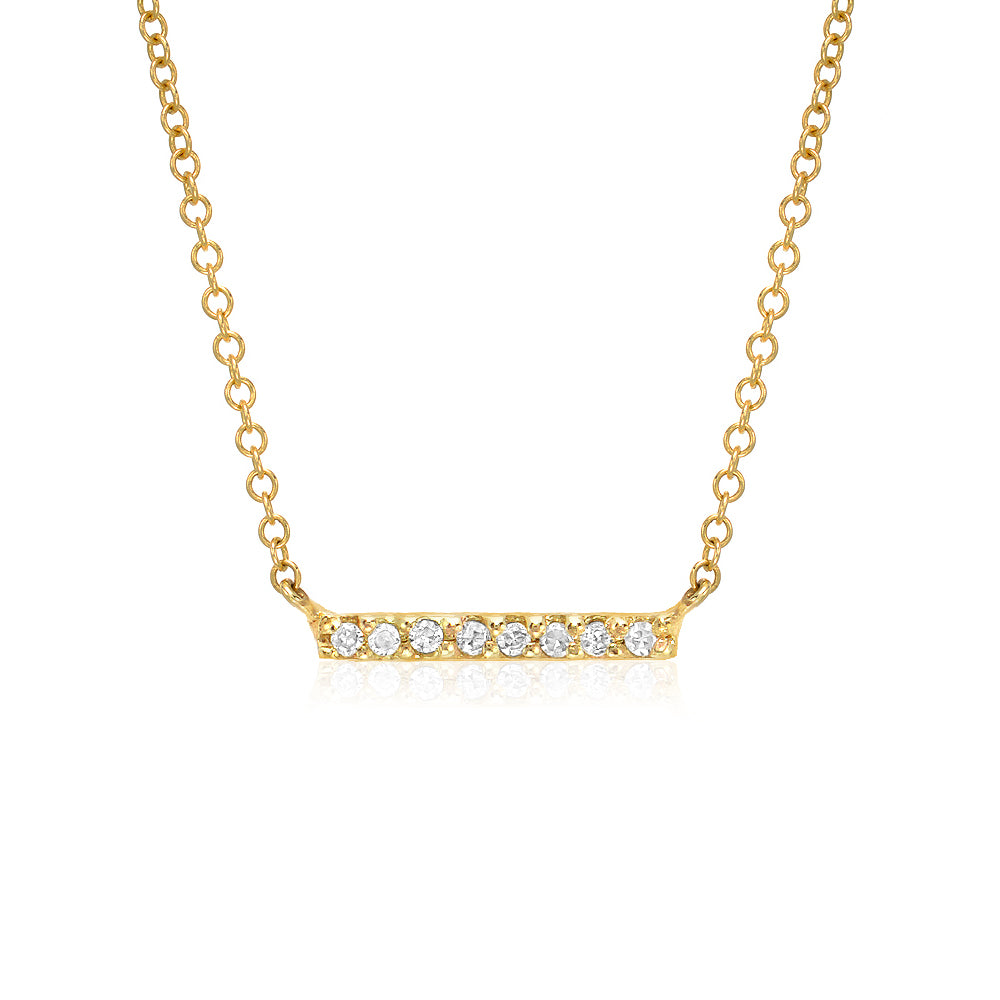 petite bar necklace in 14kt gold with diamonds