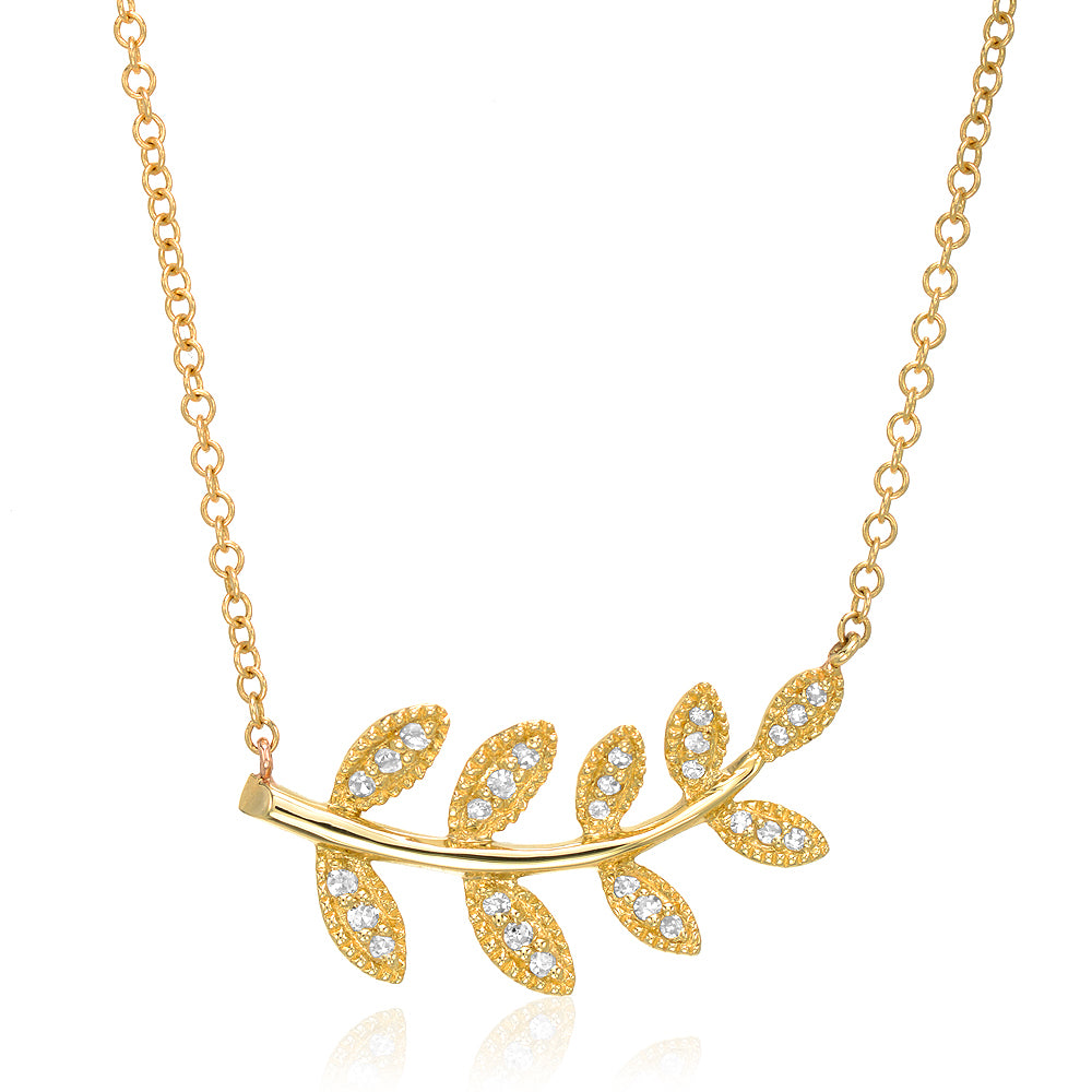 leaf necklace in 14k gold with diamonds