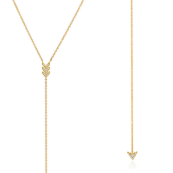 arrow lariat necklace with diamonds in yellow gold