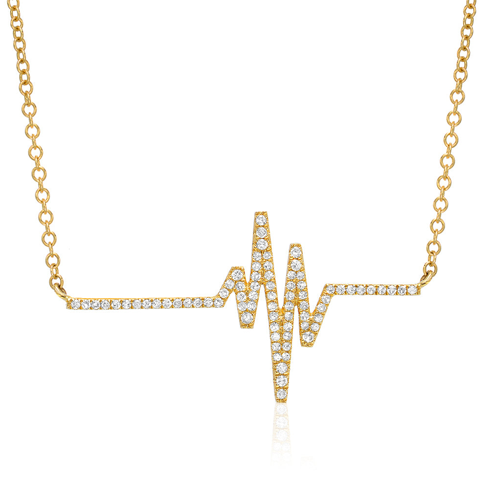heartbeat necklace in 14k gold and diamonds