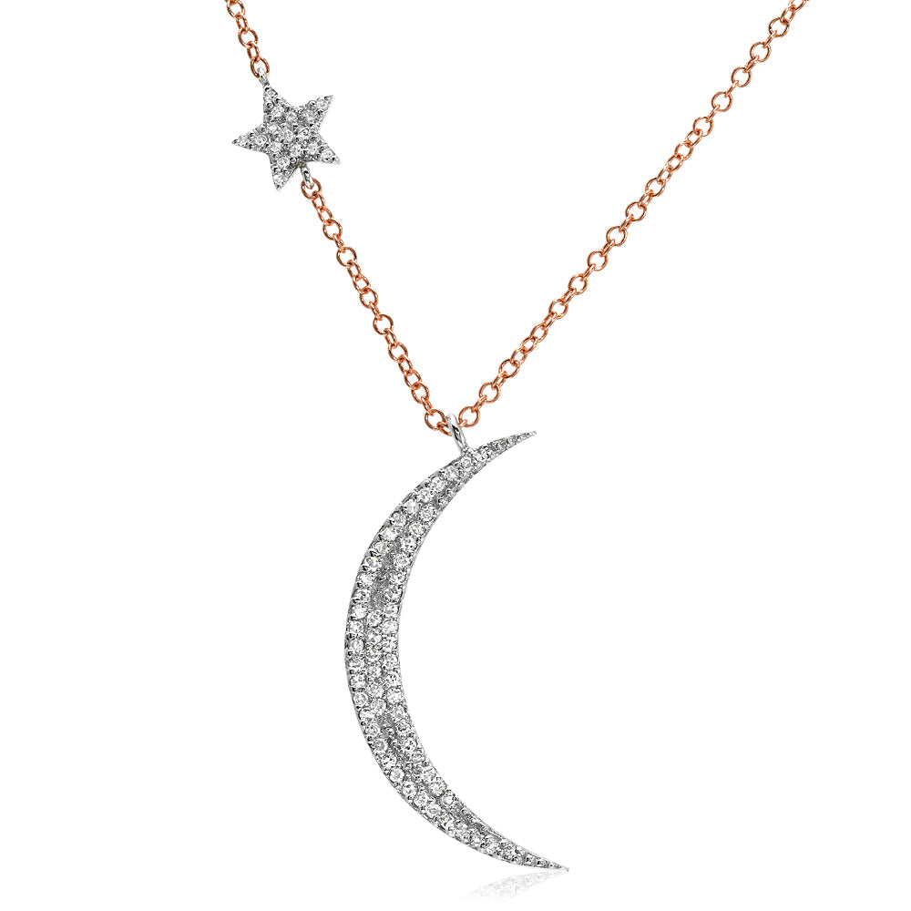 moon and star necklace in two tone rose and white gold