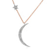 Crescent moon and star necklace in white and rose gold
