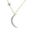 Crescent moon and star necklace in white and yellow gold