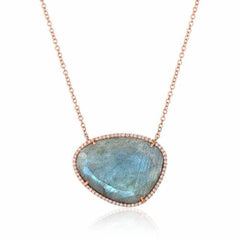 organic shape labradorite and diamond necklace in rose gold