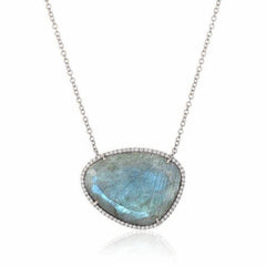 organic shape labradorite and diamond necklace in white gold