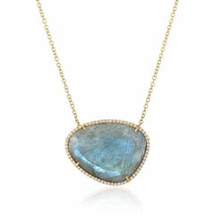 organic shape labradorite and diamond necklace in yellow gold