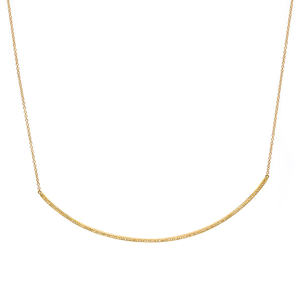 extra long diamond bar necklace in yellow gold