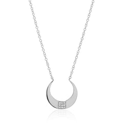 crescent necklace with diamonds in white gold