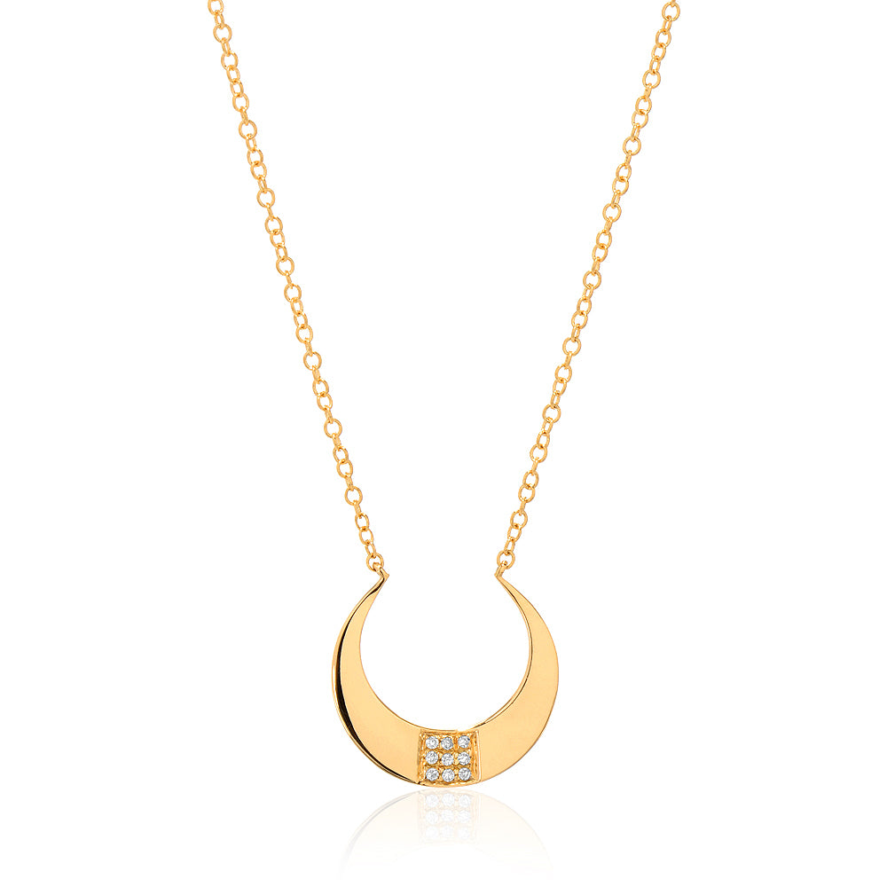 crescent necklace with diamonds in yellow gold