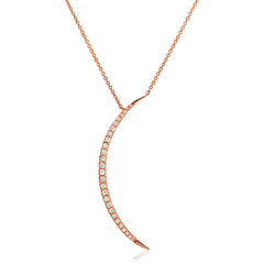 large crescent moon necklace with graduated sized diamonds