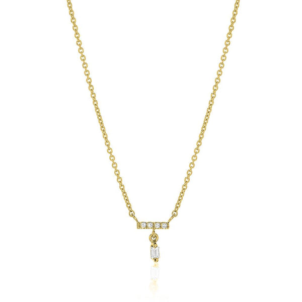 heirloom petite baguette dangle necklace in yellow gold