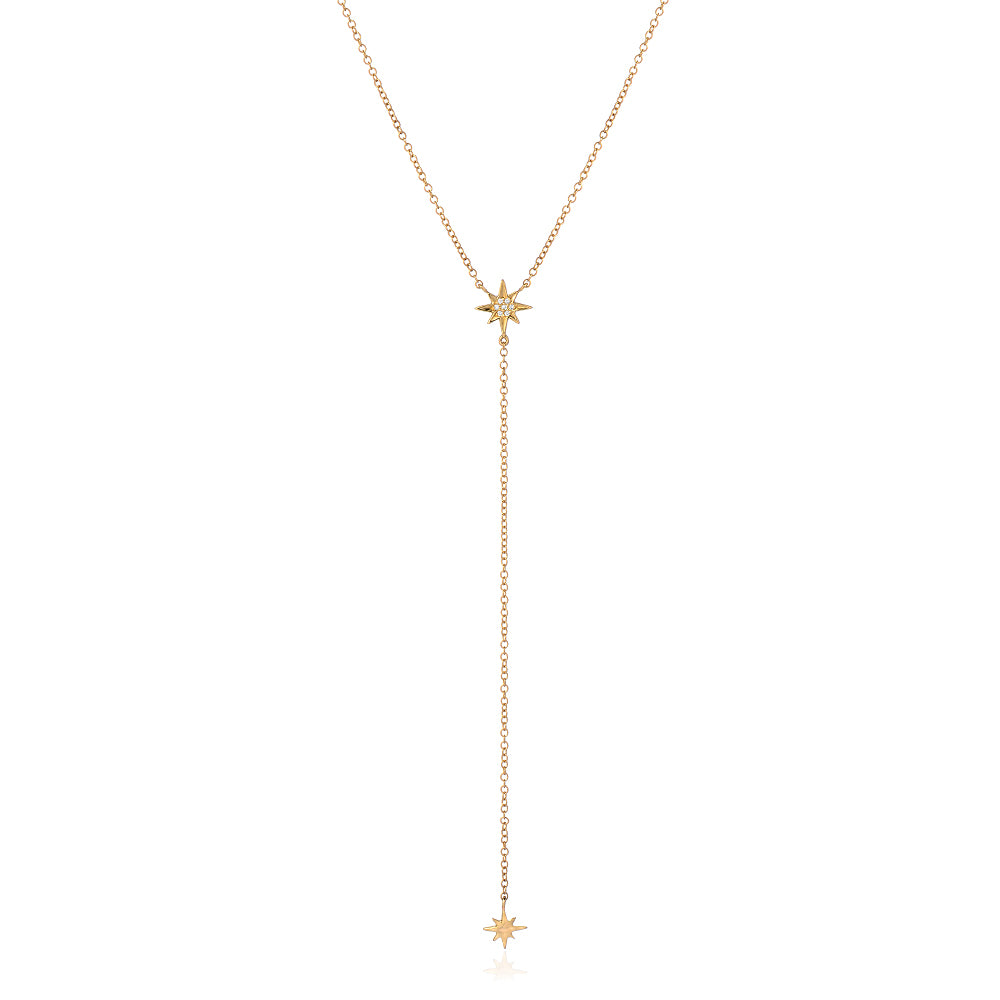 starburst mini lariat necklace in yellow gold