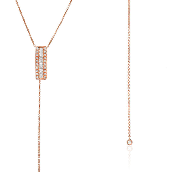 heirloom bar and bezel lariat necklace in 14k rose gold