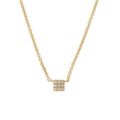 3x3 mini square diamond pave necklace