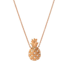 pineapple necklace in 14k rose gold with diamonds