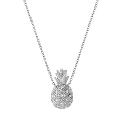 pineapple necklace in 14k white gold with diamonds